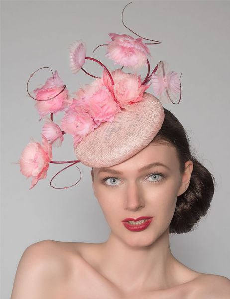 "Baby + Candy Pinks Suspended Silk Flowers Smartie Headpiece Cocktail Ascot Hat ""Reba"""